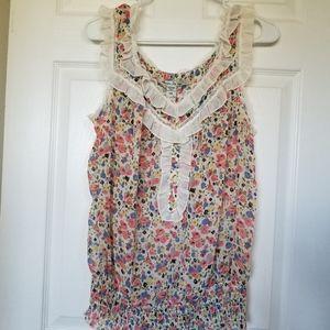 American Rag Floral Sleeveless Shirt